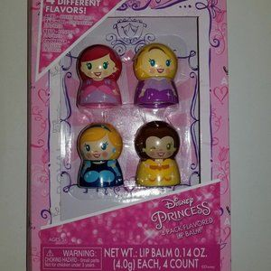 Disney Princess Lip Balm Pack 4 Flavors  New